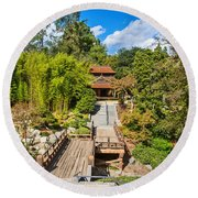 Japan In Pasadena - Beautiful View Of The Newly Renovated Japanese Garden In The Huntington Library. Round Beach Towel