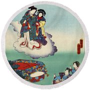 Japan: Tale Of Genji Round Beach Towel