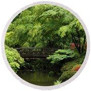 Japanes Garden Reverie Portland Oregon Round Beach Towel