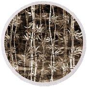 Japanese Bamboo Sepia Grunge Round Beach Towel