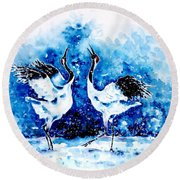 Japanese Cranes Round Beach Towel
