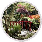 Japanese Garden Bridge With Rhododendrons Round Beach Towel