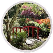 Japanese Garden Bridge With Rhododendrons Round Beach Towel