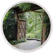 Japanese Garden Gate  Round Beach Towel
