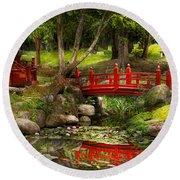 Japanese Garden - Meditation Round Beach Towel by Mike Savad