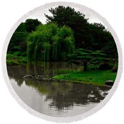 Japanese Garden Point Round Beach Towel