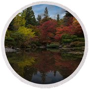Japanese Garden Reflection Round Beach Towel