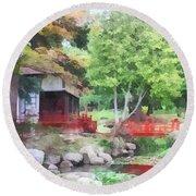 Japanese Garden With Red Bridge Round Beach Towel