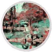 Japanese Garden's Round Beach Towel