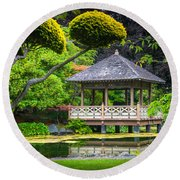 Japanese Gazebo Round Beach Towel