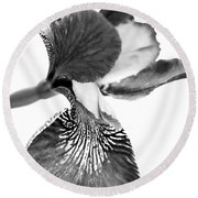 Japanese Iris Flower Monochrome Round Beach Towel