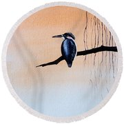 Japanese Kawasemi Kingfisher Feng Shui Earth Round Beach Towel