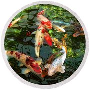 Japanese Koi Fish Pond Round Beach Towel