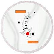 Japanese Koi Tancho Painting Round Beach Towel