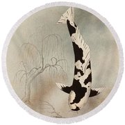 Japanese Koi Utsuri Mono Willow Painting  Round Beach Towel