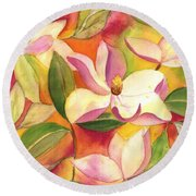 Japanese Magnolia Round Beach Towel
