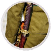 Japanese Sword Ww II Round Beach Towel by Thomas Woolworth