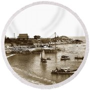 Japanese Tea Garden Glass Bottom Boats At Lovers Point Pacific Grove California Circa 1907 Round Beach Towel