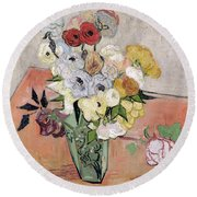 Japanese Vase With Roses And Anemones Round Beach Towel