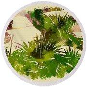 Japanese Washi Garden Reflections Round Beach Towel