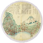 Japanese Wood Block Map Showing Mt Fuji 1830s Round Beach Towel