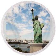 Japan's Statue Of Liberty Round Beach Towel