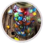 Jar Of Marbles With Shooter Round Beach Towel by Garry Gay