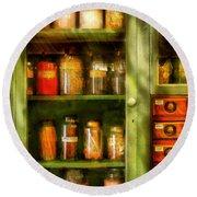 Jars - Ingredients II Round Beach Towel by Mike Savad