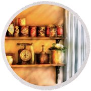 Jars - Kitchen Shelves Round Beach Towel by Mike Savad