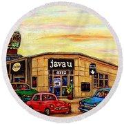 Java U Cafe Jean Talon Car Wash Coffee Shop Depanneur Montreal Art Sale Cspandau                     Round Beach Towel