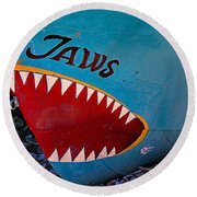 Jaws Boat Bow Round Beach Towel
