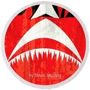 Jaws Minimalist Poster  Round Beach Towel