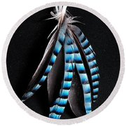 Jay Feather 2 Without Text Round Beach Towel