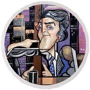 Jay Leno You Been Cubed Round Beach Towel
