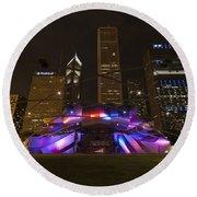 Jay Pritzker Pavilion Chicago Round Beach Towel by Adam Romanowicz