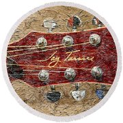 Jay Turser Guitar Head - Red Guitar - Digital Painting Round Beach Towel by Barbara Griffin
