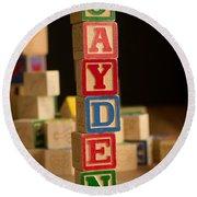Jayden - Alphabet Blocks Round Beach Towel