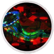 Jazz At Midnight Round Beach Towel
