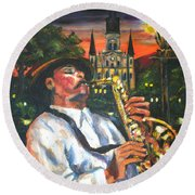 Jazz By Street Lamp Round Beach Towel