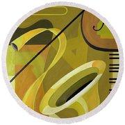 Jazz Round Beach Towel by Carolyn Hubbard-Ford