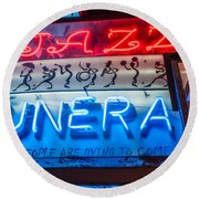 Jazz Funeral And Lamp Nola Round Beach Towel