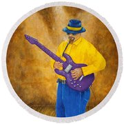 Jazz Guitar Man Round Beach Towel