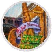 Jazz Kitchen Signage Downtown Disneyland Photo Art 02 Round Beach Towel