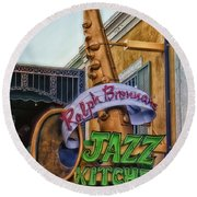 Jazz Kitchen Signage Downtown Disneyland Round Beach Towel