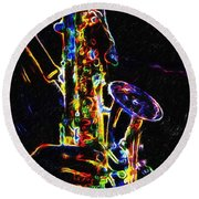 Jazz Lights Round Beach Towel