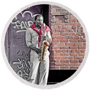 Jazz Man - Street Performer Round Beach Towel