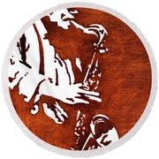 Jazz Saxofon Player Coffee Painting Round Beach Towel