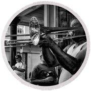Jazzy Trombone Music-bw Round Beach Towel