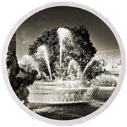 Jc Nichols Memorial Fountain Bw 1 Round Beach Towel