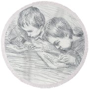 Jean Pierre Hoschede And Michel Monet Round Beach Towel by Claude Monet